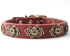 """Collier Leeds """"Molly"""" leather dog collar, 1/2"""" wide, for small dogs."""