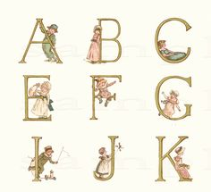 Adorable Adorned Alphabet  Wonderful Vintage  by ChildsTouch, $22.00