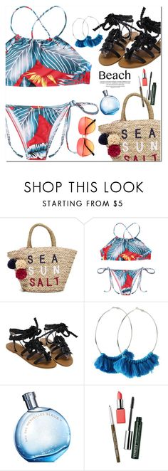 """Beach Day"" by oshint ❤ liked on Polyvore featuring Sundry, Hermès, Clinique, beachday, swimwear and zaful"