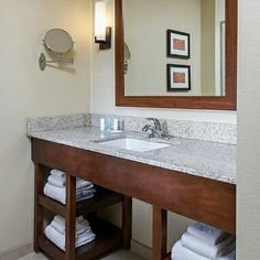 comfort Suites hotel bathroom vanities including Granite golden yellow countertop and wood vanity base  the countertop can be with choice of Granite, Marble and Engineered quartz stone.  to get more bathroom vanities for varieties of franchised hotel, please visit us http://www.hotelvanitysolution.com