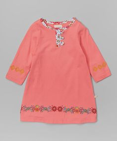 Another great find on #zulily! Pink Floral Trim Organic Swing Dress - Infant, Toddler & Girls by Origany #zulilyfinds