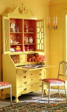 secretary painted yellow with watermelon wallpaper lined inside… hmmm. i have this secretary secretary painted yellow with watermelon wallpaper lined inside… hmmm. i have this secretary was last modified: May… Furniture Makeover, Diy Furniture, Watermelon Wallpaper, Yellow Cottage, Secretary Desks, French Country Cottage, Cottage Farmhouse, Mellow Yellow, Bright Yellow