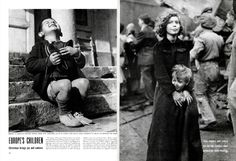 © Gerald Waller,  1946 issue: EUROPE'S CHILDREN. Christmas brings joy and sadnes.For many of Europe's children there was a Santa Claus this Christmas. When a big box from the American Red Cross arrived at Vienna's Am Himmel orphanage, shoes and coats and dresses tumbled out. Like the youngster (above), the children who had seen no new clothes throughout the war smiled to high heaven.But for thousands of other European children there was no Santa Claus.