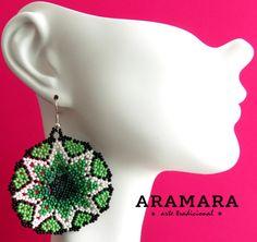 Mexique Huichol ronde perles vert clair et blanc Star par Aramara