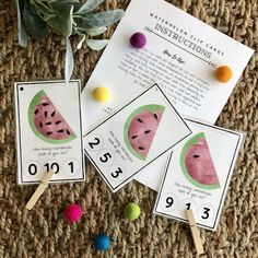 Watermelon Seed Counting Clip Cards Homeschool Preschool | Etsy Bottle Cap Magnets, Flip Flop Wreaths, Learn To Count, Numbers Preschool, Home Learning, Tot School, Print And Cut, Printing Services, Counting