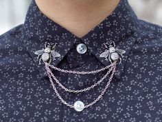 Lookie - BACKORDERED  Silver Bee Collar Clip Collar Chain by DapperandSwag, $18.00