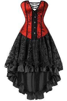 Look ravishing in red in our Atomic Two Piece Red and Black Corset and Skirt.  https://atomicjaneclothing.com/products/atomic-two-piece-victorian-inspired-corset-and-skirt-2