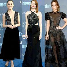 Critics Choice Awards 2016.♥️ Dos looks pretos com paetes, Emmy Rossum vestiu #giorgioarmani; Emma Stone #rolandmouret e Kate Beckinsale, #reemacra.✨ #glamourous #emmyrossum #emmastone #katebeckinsale #fashionstyles #criticschoiceawards #losangeles