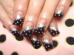 polka dots nail designs a little much with the glitter though