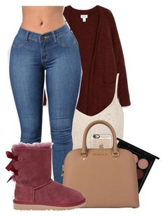 """""""Burgundy bxtch"""" by melaninaire ❤ liked on Polyvore featuring Monki, WithChic, MAC Cosmetics, Casetify, MICHAEL Michael Kors and UGG"""
