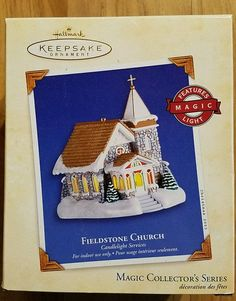 Hallmark Ornament Fieldstone Church Candlelight Services Magic Series #6  2003