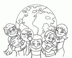 Happy Kids Earth Day coloring page for kids coloring pages