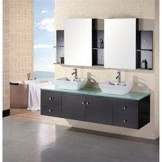 Design Element Portland 72 inch Double Sink - Wall Mount Vanity Set in Espresso 72 Double Sink Vanity, Double Sink Bathroom, Bathroom Sink Vanity, Bath Vanities, Modern Bathroom, Bathroom Ideas, Master Bathroom, Hall Bathroom, Washroom