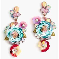 J.Crew Blooming Sequin Paillette Earrings