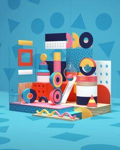 Rafael Pires on Behance 3d Geometric Shapes, Composition Art, Furniture Logo, Retro Furniture, Furniture Stores, Cheap Furniture, Memphis Design, Behance, Branding Materials