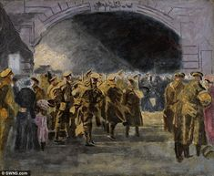 The artwork titled 'Troops Going to the Front' which the former prime minister painted in 1927 showing troops at Victoria Station, will go under the hammer at Sotheby's in London tomorrow. Churchill Paintings, Ww1 Art, Cultura General, Fine Art Auctions, Winston Churchill, Military Art, First World, Painting & Drawing, Amazing Art