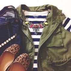 Army vest, striped tee, leo flats. Causal fall look