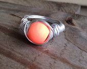 Any Size Silver Wire Wrapped Coral/Orange Bead Ring