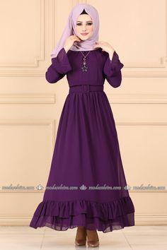 moda selvim Fırfırlı Şifon Elbise 2062AB368 Mürdüm Hijab Gown, Victorian, Dresses With Sleeves, Gowns, Long Sleeve, Kiss, Collection, Fashion, Hijab Dress