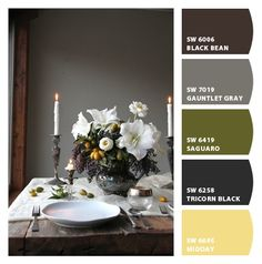 Paint colors from Chip It! by Sherwin-Williams   Love gray and yellow together.  Home exterior in pale gold; accents in charcoal