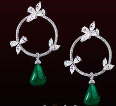 Leviev: emerald and diamond peony earrings