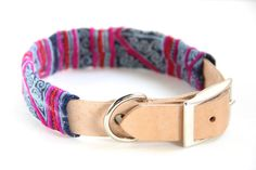 Dog Collar Sleeve // Indigo and Fuchsia // Sleeve Only by ikeandstella on Etsy (null)
