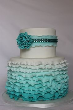 Ruffles and bling cake - Ombre teal ruffles with a side of bling. I enjoyed making this cake and really enjoyed helping eat it!