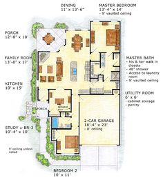 First Floor Plan of Craftsman   European   Traditional   House Plan 56569