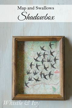Map and Swallows Shadowbox {Whistle and Ivy}
