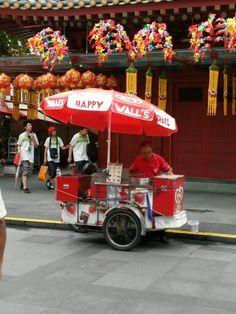 Ice cream man selling ice cream at Chinatown.