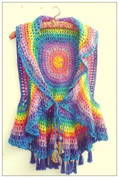 Chaleco circular multicolores - Crochet - Tejidos de Punto -