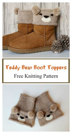 Free Knitting Pattern for Teddy Bear Boot Toppers - A colorwork bear face and po. Free Knitting Pattern for Teddy Bear Boot Toppers - A colorful bear face and pompom ears make for an adorable boot cuff designed by Alexandra Davidoff. Baby Knitting Patterns, Knitting For Kids, Loom Knitting, Knitting Stitches, Knitting Socks, Free Knitting, Crochet Patterns, Knitting Needles, Teddy Bear Patterns