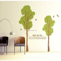 Wind Tree With Birds Wall Decals