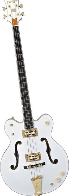 It looks wrong in all the right ways. Gretsch Guitars White Falcon Bass Guitar White (via Musician's Friend) Bass Ukulele, Bass Guitars, Electric Guitars, Dandy, I Love Bass, Jackson, Bass Guitar Lessons, All About That Bass, Cool Guitar