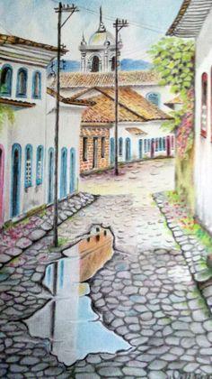 Pintura em papel com textura de tela feito com lápis profissional.