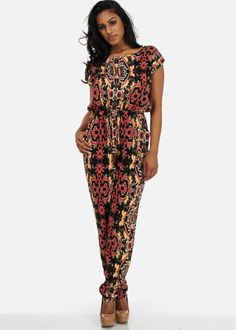 Tribal Jumpsuit with Open Back #chic #romper #jumpsuit #pattern #modaxpress