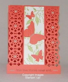 Lovely Lacy Butterfly Card...lace ribbon punch and butterflies.