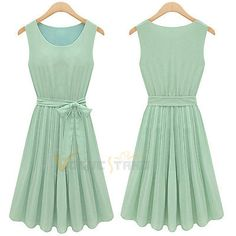 Lady Elegant Sleeveless Pleated Chiffon Vest Dress Sundress Mint Green 4 Size V6