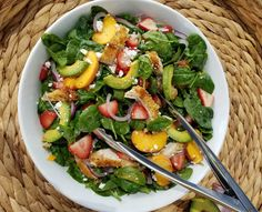 Clean Eating Crispy Quinoa Chicken and Strawberry Spinach Salad http://cleanfoodcrush.com/crispy-chicken-salad/
