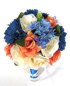 Wedding bouquets Bridal Silk Flowers ROYAL Blue DAISY COR... https://www.amazon.com/dp/B01MSVVI3B/ref=cm_sw_r_pi_dp_x_2QAUybJAAK3EC
