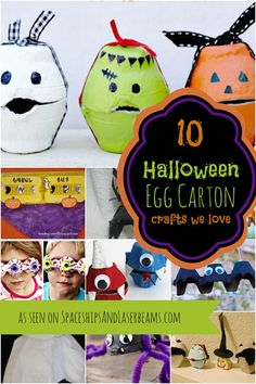 What can you do with an empty egg carton? Just look at these fun kids' craft ideas for Halloween Egg Carton Crafts. Halloween Treat Boxes, Halloween Party Games, Halloween Displays, Holidays Halloween, Halloween Kids, Halloween Themes, Halloween Crafts, Holiday Crafts, Holiday Fun