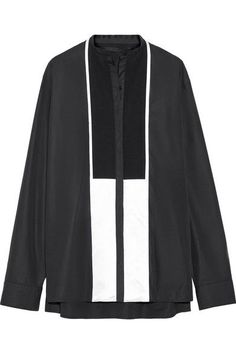 Haider Ackermann - Oversized Satin-paneled Cotton-poplin Shirt - Black - FR34