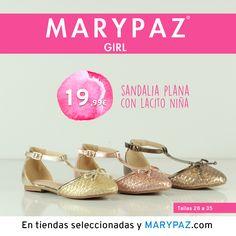 """MARYPAZ GIRL Emoticón heart Emoticón heart Descubre la colección """"mini"""" de MARYPAZ pensada para las más pequeñas de la casa Emoticón smile Disponibles en tiendas seleccionadas y en nuestra NUEVA WEB marypaz.com ¡ SANDALIA PLANA con lacito NIÑA 19,99 € !  Descubrela aquí: http://www.marypaz.com/girl.html"""