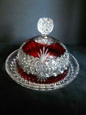 Vintage Cut to Clear Ruby Red Large Butter Dish