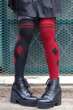 5fb093b88 Harlequin Dual Color Over the Knee Socks