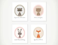 printable woodland creature artwork set at invited by audriana | baby shower gift guide