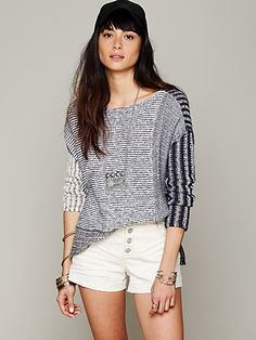 love the patchwork and mixed stitch- Mixed Stripe Pullover