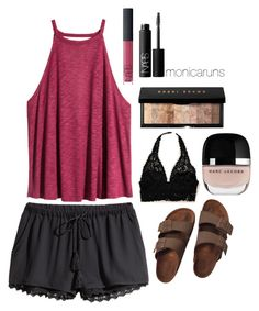 9.13.15 by monicaruns on Polyvore featuring H&M, Aerie, Birkenstock, Bobbi Brown Cosmetics and NARS Cosmetics