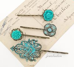 Teal Wedding Floral Hair Pins Turquoise Aqua Blue Flower Hair Slide Vintage Style Bridal Bobby Pin Set of 4 Bridesmaids Flower Girls Party by Jewelsalem on Etsy https://www.etsy.com/listing/191623180/teal-wedding-floral-hair-pins-turquoise