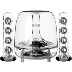 SoundSticks Wireless Bluetooth Enabled 2.1 Speaker System by Harman Kardon  ~ Features :  • Integrated Bluetooth technology for high performance wireless connectivity  • 6-Inch (150mm) down-firing subwoofer for deep bass  • Eight full-range transducers for crystal clear sound  • Elegant touch controls for volume and mute  • Awe-inspiring industrial design  • 1/8-Inch (3.5mm) stereo audio connection